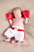 Baby Boxer Set,Crochet Newborn Photography Props,Handmade Baby Boxing Gloves Set