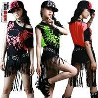 New Fashion hip hop top dance female Jazz costume performance wear stage clothing Halloween skull tassel Neon loose Sexy t-shirt