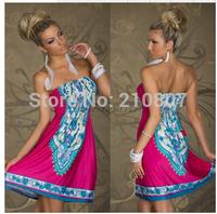 M-XXL Plus Size 2014 New Dress Women Print Bohemia Boho Dress Vintage Sexy dress