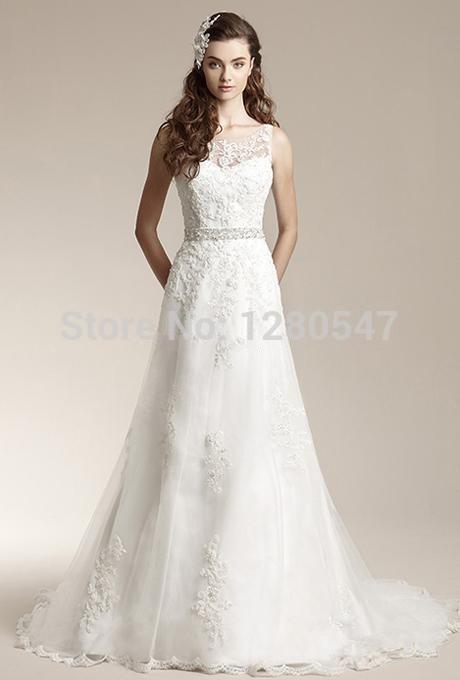 2014Lovely High neck A-line Open back Lace Belt Bride dress amanda Sexy Long train Wedding dress 2 4 6 8 10 12 14 16+++(China (Mainland))