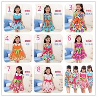 2014 New Fashion Summer Children Clothing Girls Colorful Dress Flower Print Sleeveless Dress Kids Beauty Dress Free Shipping