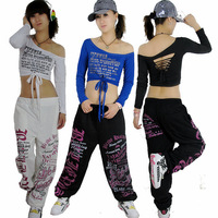 New Fashion hip hop top dancer female Jazz costume performance wear Bronzier oblique ultra-short letter Hollow out t-shirt