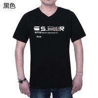 Camisetas New Hot Sale Active Spandex Men V-neck Cotton Men's Clothing T-shirt Loose Short-sleeve Shirt 2014 Male Summer T 100%