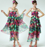 Summer Dresses 2014 New Women Silk Chiffon Multicolored Ruffle Dress Sexy Halter Bohemian Beach Dress