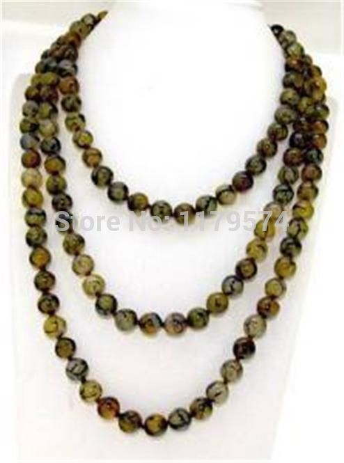 "Free hot new Beautiful 10mm Yellow Veins Dragon agate Round Beads Jasper Necklace 35"" sp119(China (Mainland))"