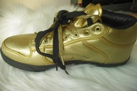 2014 spring and fall large size 48 Genuine  leather casual flat with gold-colored rubber outsole 13 sneaks shoes