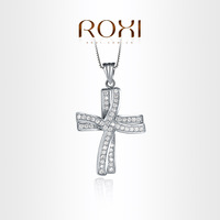ROXI Delicate cross necklace platinum plated with AAA zircon,fashion Environmental Micro-Inserted Jewelry,free shipping