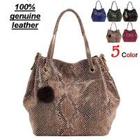Genuine leather handbag women messenger bags women leather handbags Snake leather women handbag factory foreign trade bucket bag