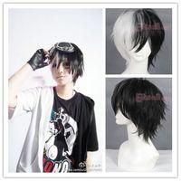 lily wig FREE SHIPPING Dangan Ronpa monokuma 30cm short Black&white cosplay HAIR wig CB57