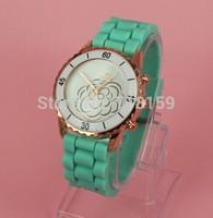 Hot sale Geneva Brand atmos clock Woman Watches 2014 Quartz Silicone Sports Watch Wristwatch Girl Dress Watches Gift relogio