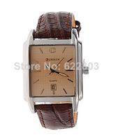 CURREN 8097 Men quartz Leather Strap Brand Analog Quartz Dress Watch with Calendar (browm)