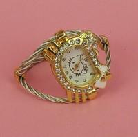 Free Shipping Hot sales 2014 new Hello Kitty girl dress watches-rhinestone watches fashion Bracelet watch quartz items Relogio