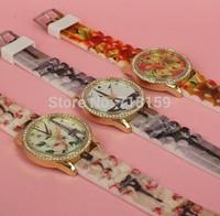 Hot sales 1pcs/lot Fashion Clock Designer woman dress watches Girl Silicone Sports watch quartz rhinestone watches Relogio