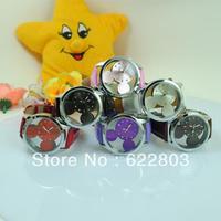 New 2014 Fashion Rhinestone Quartz Mickey Watch Leather strap Clock Women Dress Watches Casual Children Hours
