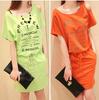 1pc/lot ,2014 New fashion Korean women Summer Spring  orange green Cotton casual loose Short Sleeve One-piece sport dress polo