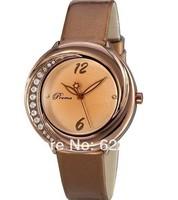 2014 new women Rhienstone watches Crystal Woman Leather strap Casual watch  women Dress Watch