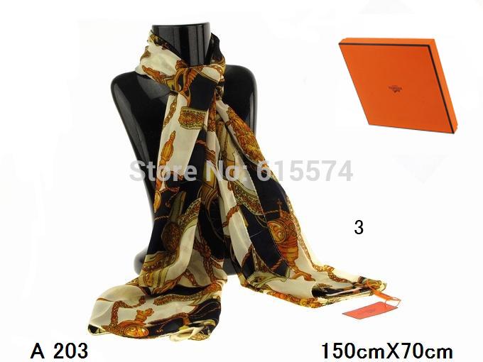 hot 2014 female new fashion summer 100% silk shawls&scarves brand designer women cool long silk wraps with original orange box(China (Mainland))