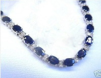 Wholesale cheap  white gold blue Sapphire gem bracelet 8 inches / Free Shipping