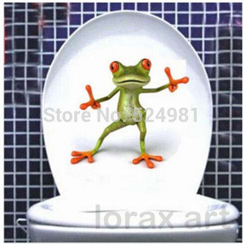 Fashion Toilet Sticker - Cute Green Frog Toilet Sticker -wall Sticker Home Decor Bathroom Decor - named HAPPY DANCING(China (Mainland))