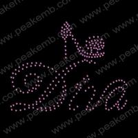 Wholesale 50Pcs/Lot Free Shipping Crystal Rhinestone Shoes Diva Iron On Transfer Hot Fix Patterns For Garment