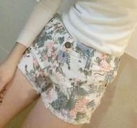hot selling 2014 summer new women's bow waist short hot pants denim high waist shorts crochet shorts loose floral sequin shorts