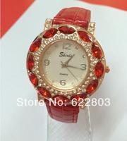 2014 New Fashion women rhinestone leather strap quartz watch children girl Casual watch dress watches Free & Drop shipping