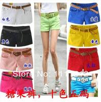 new 2014 womens shorts candy color cotton short women beach summer shorts feminino plus size 26-30 Black yellow blue red white