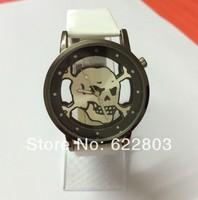 Jelly Silicone Punk Style Skull Gothic Wrist Watch fashion Ladies Women Men Transparent Quartz Watch women dress Watch