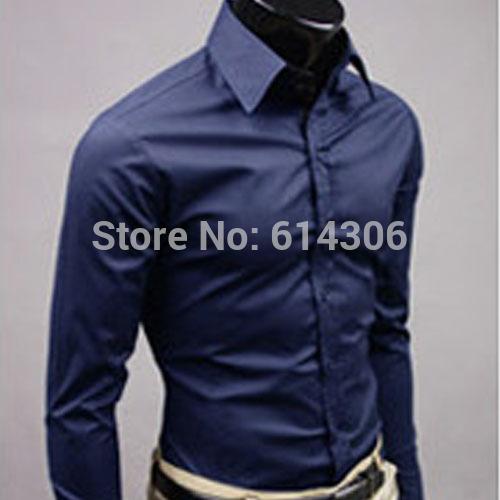 Navy mais novo Men Slim Fit Casual Blusa Moda Vire -down Collar manga comprida camisa As camisas dos homens bonitos da gota do transporte(China (Mainland))