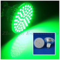 10 PCS/Lot Free Shipping MR16 4W Green Light 60 3528 SMD LED Energy Saving Spotlight Light Lamp Bulb LED0277