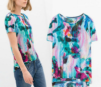 2014 New Women Ladies Fashion Floral Print T Shirt Summer Clothing Round Neck Short Sleeve T-shirt Tops Tee A604