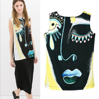 2014 New Women Ladies Sexy Black Face Print Backless T Shirt Casual Sleeveless Back Draped T-shirts ZA Brand Tops A607