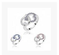 Fashion accessories rhinestone delicate cutout bow punk midi ring jewelry0858