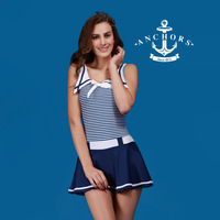 Free shipping high quality Women's swimwear ,Students navy style swimwear,one-piece swimsuit spa women's swimwear