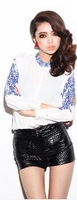 *2014 new Chinese style blue and white long-sleeved printed chiffon blouse shirt women