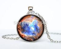 1pcs Heart Nebula pendant Heart and Soul Nebula necklace galaxy universe stars space gift Glass Cabochon Necklace A0090