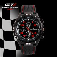 12Colors 2014 New Retail Grand Touring GT Men Sports Watch,Fashion Military Style Japan PC Movement Quartz Silicone Wristwatch