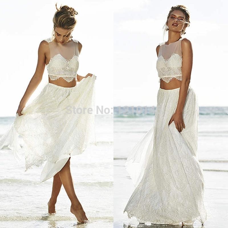 2 Piece Beach Wedding Dresses : Lace two piece sleeveless sheer beach wedding dress china mainland