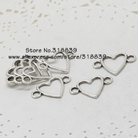 (80 pieces/lot) 17*24mm Antique Silver Metal Alloy Hearts Jewelry Connectors Charms for Bracelet Making 7437