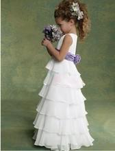 flor branca meninas vestem vestidos de festa crepe princesa de tanques para a comunhão 2014 vestidos de baile crianças casamentos de verão(China (Mainland))