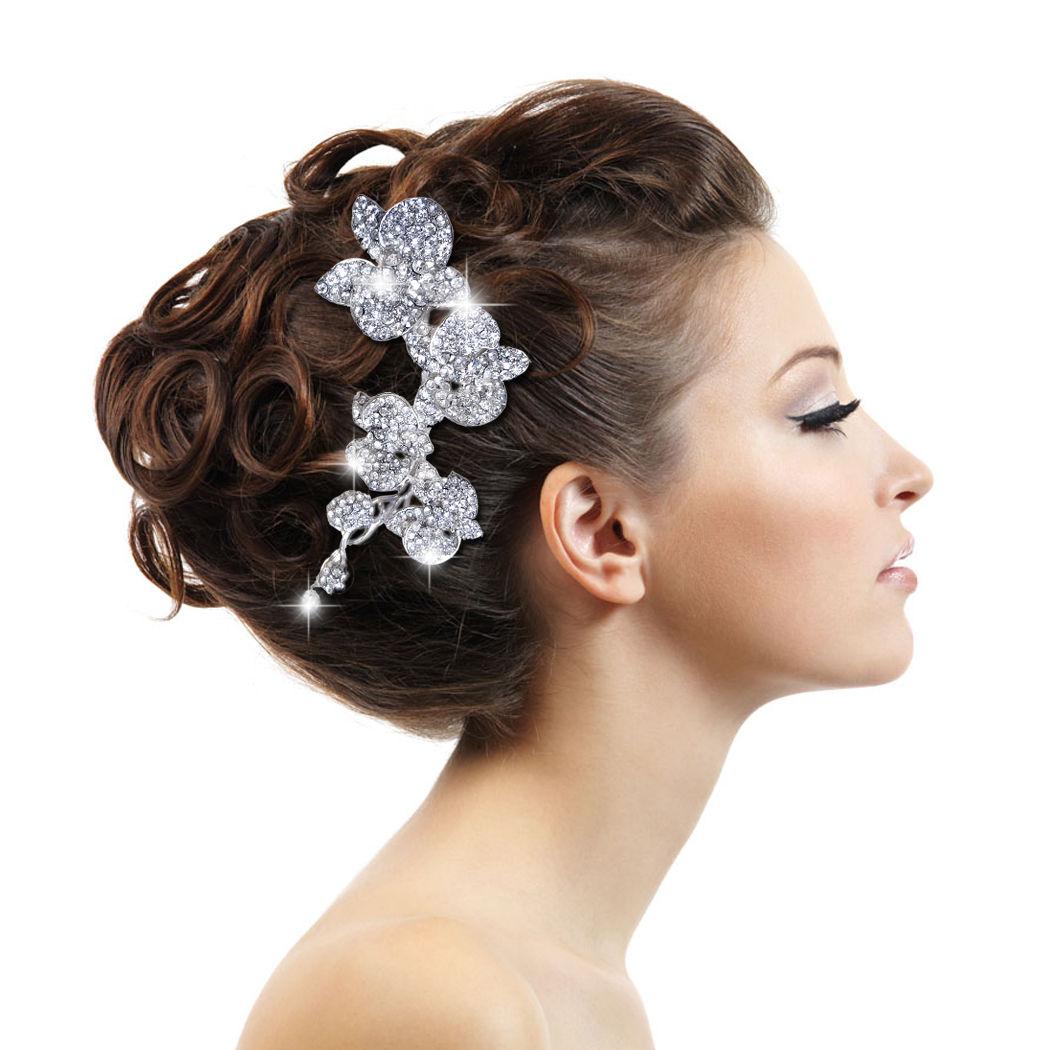 De mariage de luxe d'orchidée, fleur de cheveux peigne diadème strass clear crystal mariée cheveux accessoires pour les bijoux des femmes livraison gratuite