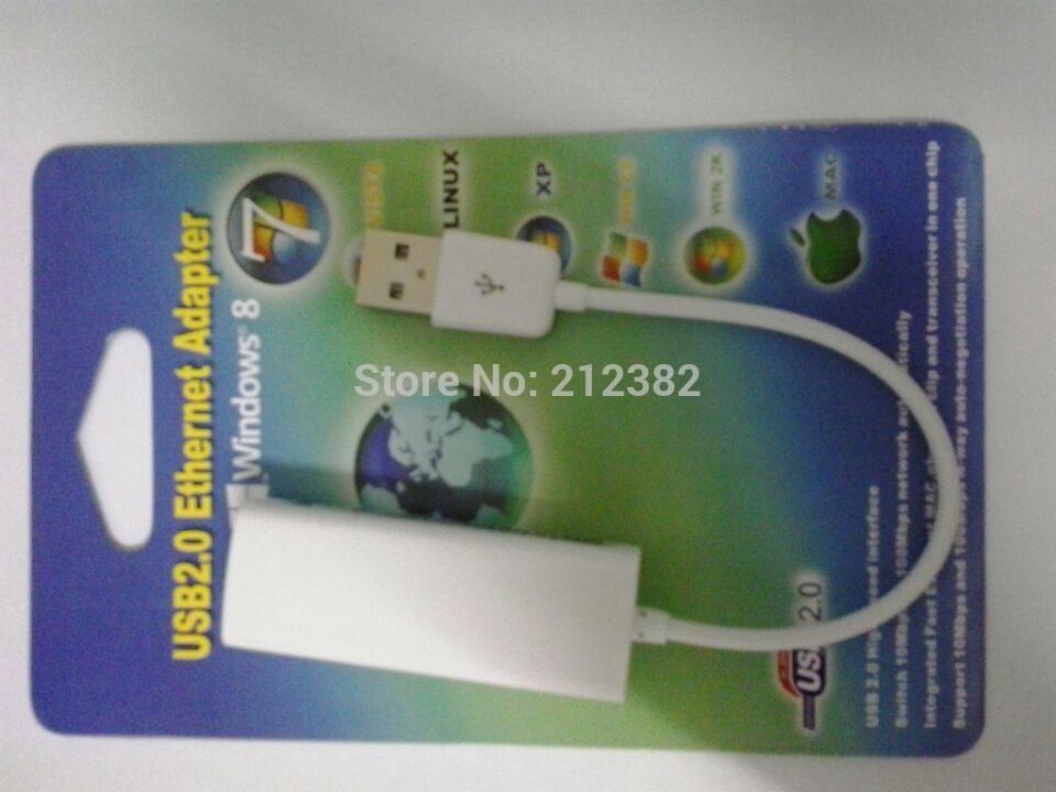 2pcs/lot USB 2.0 to Ethernet RJ45 Network Lan Card Adapter for Linux Vista Mac free shipping(China (Mainland))