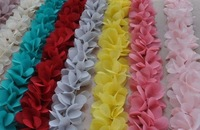 "Free Shipping 2.1"" Chiffon Fabric Flower Trim,shabby Chiffon Flowers,Hair Accessories Fabric Flower Chiffon Trim 10yards/lot"