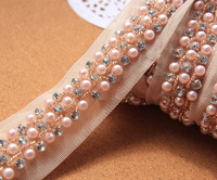 1 Yard DIY clothes accessories 3cm pink beaded lace fabric trim vintage handmade beaded lace trims for decoration