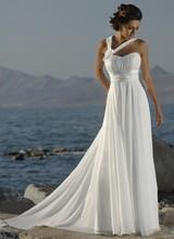 flor hecha a mano nueva 2014 correas halter playa de chifón blanco marfil vestidos de novia(China (Mainland))