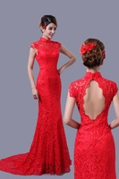 New Vintage Red Long Design Cheongsam Style Wedding Women Dress Water Soluble Lace Material Women Formal Party Evening Dress