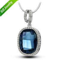 Free Shipping Ellipse Shape Blue Austria Crystal CZ Rhinestone Water Drop Women Pendant Necklace Jewelry 7 Colors To choose