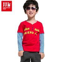 Boys False Two V-Neck Tee Shirt Kids Striped Sleeve 100% Cotton Size 3-16 Y NWT