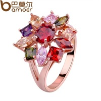 Bamoer engagement jewlery18K rose gold plated Flower finger ring multicolor zircon high Quality Jewelry bijouterie sale