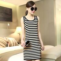 2014 Summer New Korean Women Summer Dress Black and White Striped Sleeveless One Piece Dress Hot Sale WS72